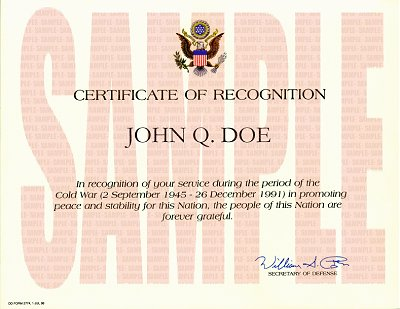 Country Joe McDonald Vietnam and War Archive – Certificate of Recognition Wordings